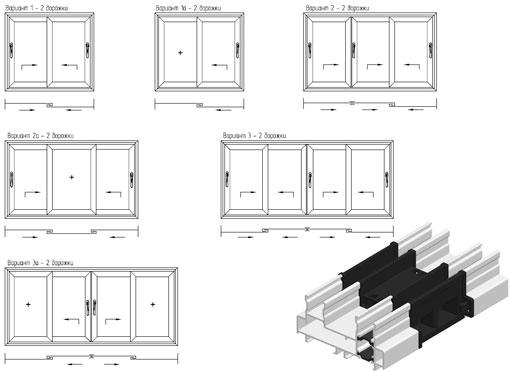 Варианты раздвижных окон и дверей