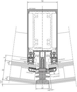 Рис. 2. Использование новых прижимов в структурных фасадах с одно- и двухкамерным стеклопакетом