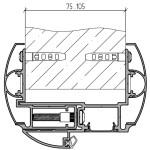 Толщина стен проема 75–105 мм