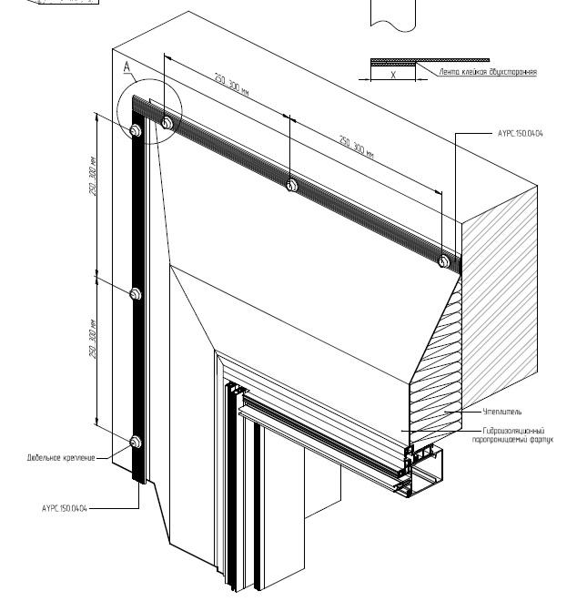 Дополнительное утепление в области примыкания теплой светопрозрачной конструкции
